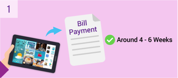 Around four to six weeks after your installation of eye3 Service and full payment of the first bill