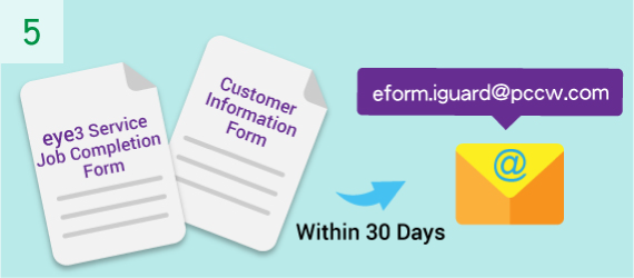 Please email the completed Customer Information Form and the eye3 Service Job Completion Form to eform.iguard@pccw.com within 30 days of the eye3 Service installation